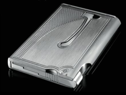 "The RCD81 ""Trigger"" mechanical card dispenser in titanium and aluminium"